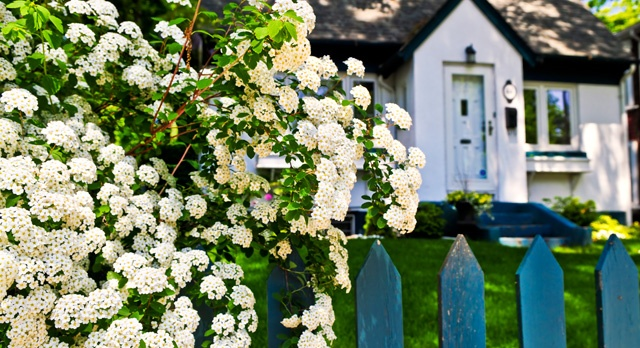 House with flowers and picket fence